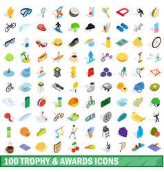 100 trophy and awards icons set isometric style vector