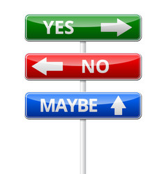 Yes no maybe - three colorful traffic sign with vector