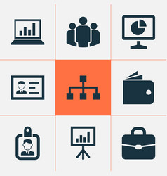 business icons set collection of hierarchy vector image
