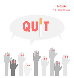 human hands and quit tobacco signworld no tobacco vector image
