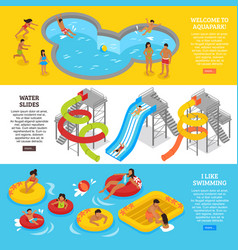 water park banners set vector image