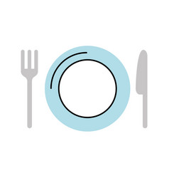 Dish with cutlery kitchen vector