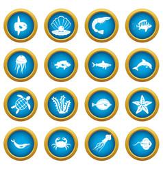 sea animals icons blue circle set vector image