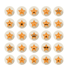Set of stars with different emotions vector