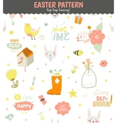 Cute pattern with animals bunny birds flowers vector