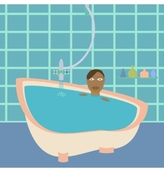 African american female in bathroom vector