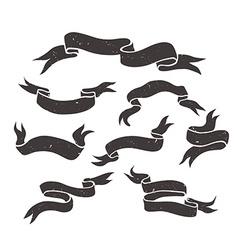 Set of grunge black hand drawn ribbons vector image