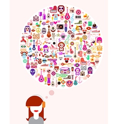 thinking woman vector image