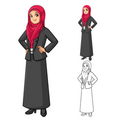 Muslim businesswoman wearing red veil or scarf vector