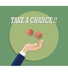 Take a chance with hand play dice green background vector