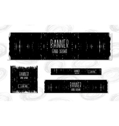 Collection of black and white web banners vector