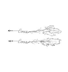arrow hand drawn set love lettering arrows vector image vector image