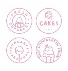 Bakery cake cafe badges vector