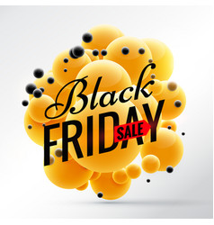Black friday design with bright yellow spheres vector