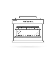 black thin line shop building icon vector image