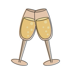champagne toasts cups vector image