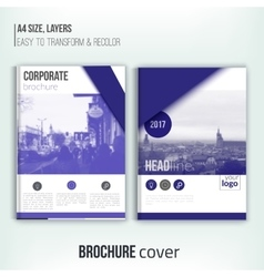 Clean brochure cover template with blured duotone vector image