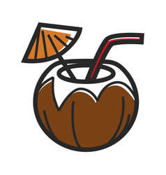 cocktail in coconut vector image vector image