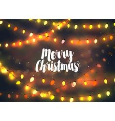 Cozy yellow Christmas lights garlands vector image