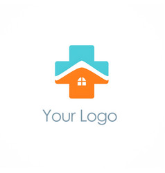 cross medic house hospital logo vector image vector image