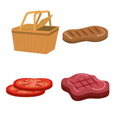 Delicious picnic set icons vector
