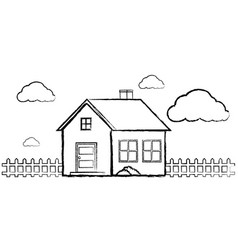 Doodle of single house without color vector
