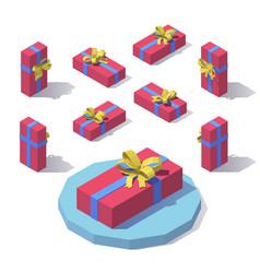 flat horizontal gift box vector image