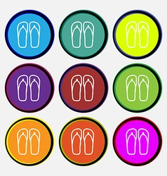 Flip-flops beach shoes sand sandals icon sign nine vector