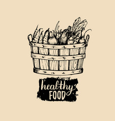 Healthy food logo farm eco products vector