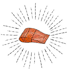Image steak of red fish salmon in sun rays vector