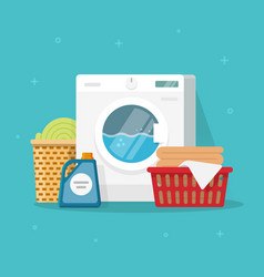 Laundry machine with washing clothing and linen vector