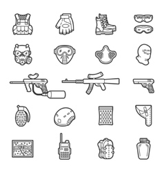 Line paintball or airsoft icon set vector