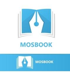 Logo combination of a book and pen vector