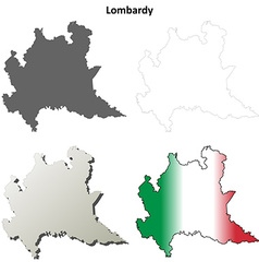 Lombardy blank detailed outline map set vector