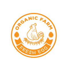 Organic farm logo with hen hatch egg on grasses vector