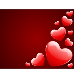 red shiny hearts vector image vector image