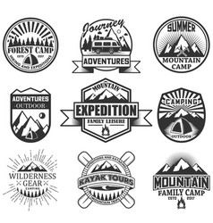 set of camping objects isolated on white vector image vector image