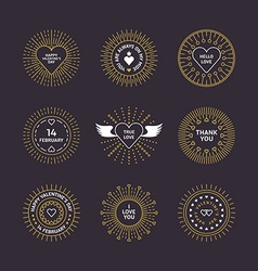 Set of Decorative Circle Line Art Frames with vector image vector image