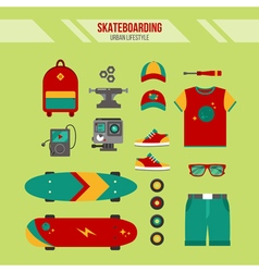 Skateboarding kit urban lifestyle set vector