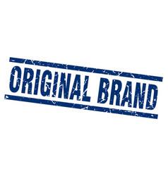 Square grunge blue original brand stamp vector