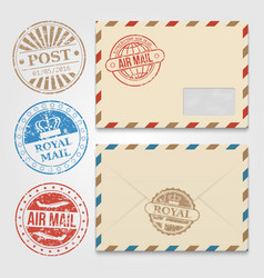 vintage envelopes template with grunge postal vector image