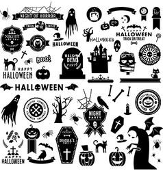 Set of happy halloween black silhouettes vector