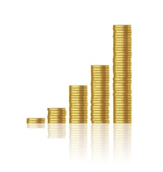 Growth of gold coins vector