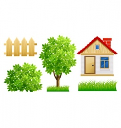 house and fence vector image