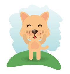 Cute wolf animal winking vector