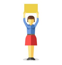 Woman holding empty sign vector