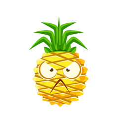 Angry pineapple face cute cartoon emoji character vector