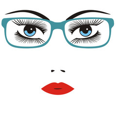 Beautiful smart young woman wearing glasses vector