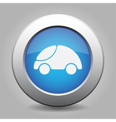 Blue metal button with car vector