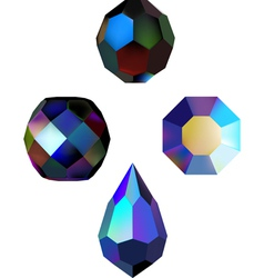 iridescent crystal beads vector image